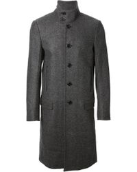 Diesel Herringbone Pattern Funnel Collar Coat gray - Lyst