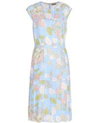 Bottega Veneta Floral-Printed Crepe Dress - Lyst