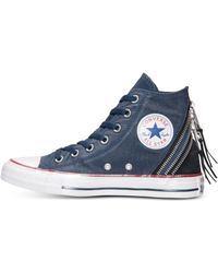 Converse Chuck Taylor Tri-zip Sparkle Wash Casual Sneakers From Finish Line - Lyst