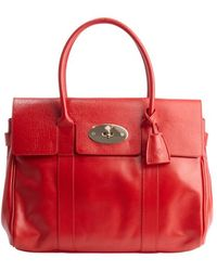 Mulberry Red Leather Bayswater Top Handle Handbag - Lyst