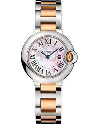 Cartier Ballon Bleu De 18Ct Pink-Gold And Steel Watch - For Women silver - Lyst
