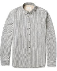 Rag & Bone Striped Buttondown Collar Linen and Cottonblend Oxford Shirt - Lyst