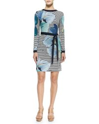 Tory Burch Annette Striped Floral Long-Sleeve Dress - Lyst
