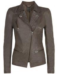 Muubaa Kajana Grey Leather Biker Jacket - Lyst