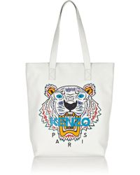 Kenzo Tiger Embroidered Leather Tote - Lyst