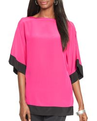 Ralph Lauren Lauren Color Block Silk Top - Lyst