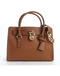 MICHAEL Michael Kors Camel Brown Leather 'Hamilton' Logo Lock Clasp Convertible Top Handle Bag - Lyst