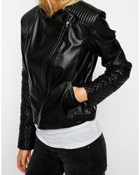 Asos Leather Assyemtric Mixed Quilted Biker - Lyst