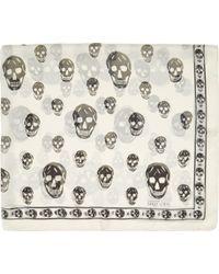 Alexander McQueen Ivory Skull Chiffon Scarf - Lyst