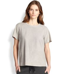 Vince Snake-Embossed Leather Tee - Lyst