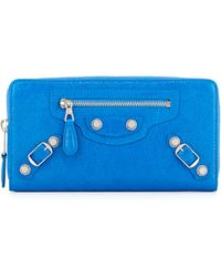 Balenciaga Giant 12 Nickel Continental Zip Wallet blue - Lyst