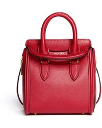 Alexander McQueen Heroine Mini Saffiano Leather Satchel - Lyst