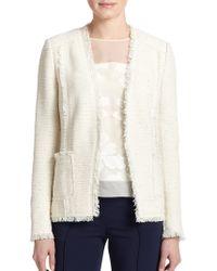 Rebecca Taylor Fringe-Trim Tweed Jacket - Lyst