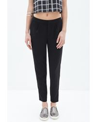 Forever 21 Zippered Woven Trousers - Lyst