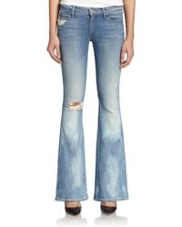 Mother The Cruiser Distressed Flared Jeans - Lyst