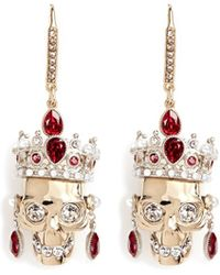 Alexander McQueen | Swarovski Crystal Royal Skull Earrings | Lyst