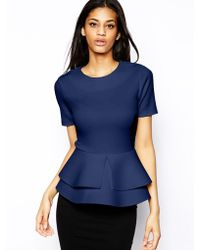 Asos Top with Double Frill Peplum in Scuba - Lyst