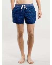 Topman Navy Floral Print Swim Shorts - Lyst
