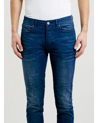 Topman Indigo Coated Stretch Skinny Jeans - Lyst