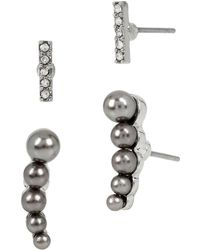 Kenneth Cole - Modern Pearl Faux Pearl And Sparkle Stud Earring Set - Lyst