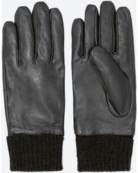 Zara Marled Cuff Leather Gloves - Lyst