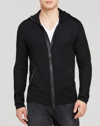 John Varvatos Usa Leather Trim Zip Front Hooded Cardigan - Lyst