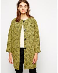 Helene Berman Button Front Collarless Coat in Lace Effect - Lyst