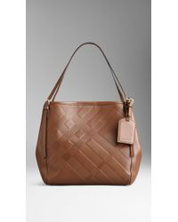 Burberry Small Embossed Check Leather Tote Bag - Lyst
