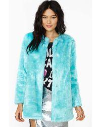 Nasty Gal Candy Flip Faux Fur Coat - Lyst