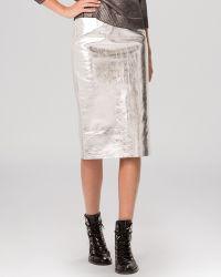 Maje Skirt - Gallium Metallic Leather - Lyst