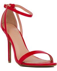 Akira Single Sole Ankle Strap Open Toe Red Patent Sandals - Lyst