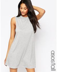 Asos Tall T-Shirt Dress With Drop Arm Hole gray - Lyst