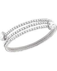 Swarovski Silver Tone and Crystal Twisted Bangle Bracelet - Lyst