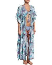 Letarte - Sea Palm Printed Long Caftan - Lyst