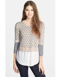 Kensie Layered Look Speckled Melange Sweater - Lyst