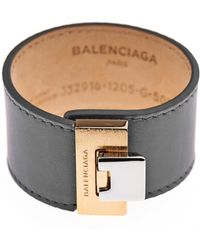 Balenciaga Le Dix Charcoal Leather Bracelet - Lyst