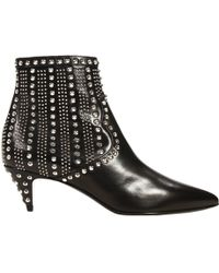 Saint Laurent Ankle Boots Heel 4 Low Boot Studded Leather - Lyst