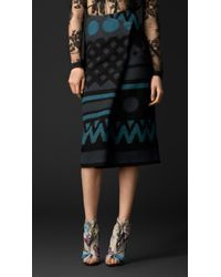 Burberry Jacquard Blanket Pleat Front Skirt - Lyst