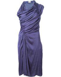 Lanvin Purple Draped Dress - Lyst