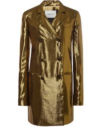 Peter Som Gold Lame Double Breasted Blazer - Lyst