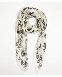 Alexander McQueen White and Black Silk Skull Printed Scarf - Lyst