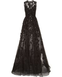 Elie Saab Embroidered Tulle and Silk Georgette Gown - Lyst