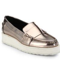 Pierre Hardy Metallic Leather Platform Loafers - Lyst