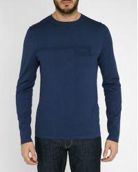 Armani   Blue Graphic Round-neck Sweater   Lyst