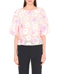 Chloé Floral-Embroidered Mesh Top - Lyst