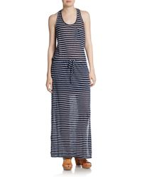 C&c California Striped Linen Maxi Dress - Lyst