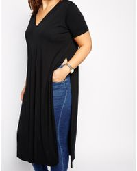 Asos Curve Longline Tunic With Split Sides - Lyst