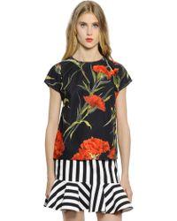 Dolce & Gabbana Floral Printed Stretch Cotton Poplin Top - Lyst