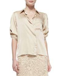 Donna Karan New York Rolled-sleeve Sateen Shirt - Lyst