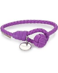 Bottega Veneta Intrecciato Leather Wrap Bracelet purple - Lyst